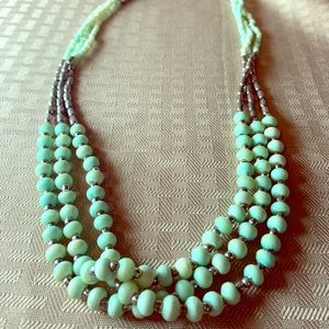 Jewelry - Jade and silver colored beaded Necklace